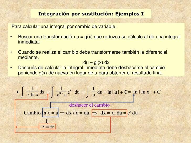 Integración por sustitución: Ejemplos IPara calcular una integral por cambio de variable:•   Buscar una transformación u =...