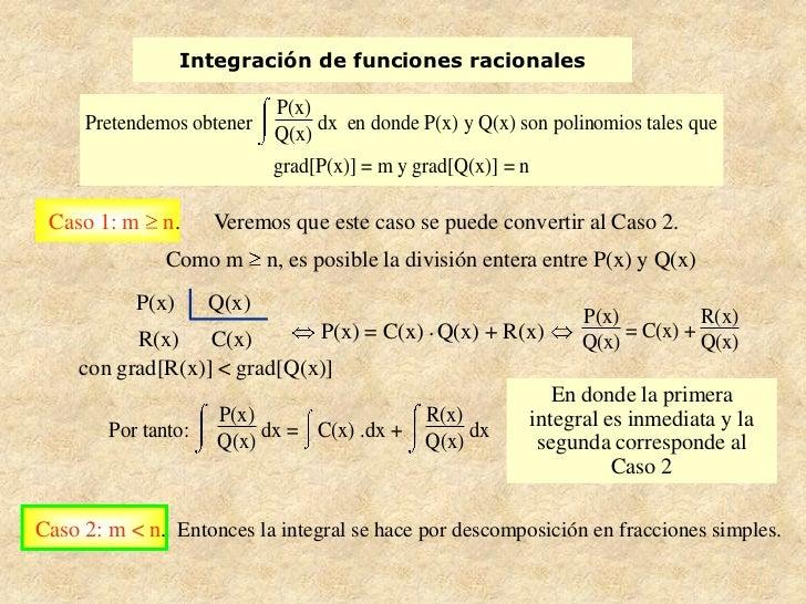 Integración de funciones racionales                            P(x)     Pretendemos obtener         dx en donde P(x) y Q(x...