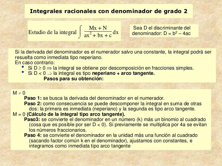 Integrales racionales con denominador de grado 2                                   Mx + N             Sea D el discriminan...