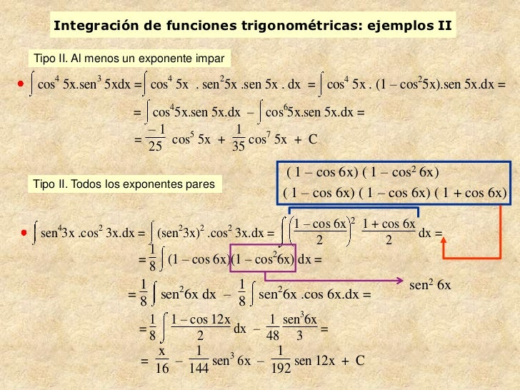 Integración de funciones trigonométricas: ejemplos IITipo II. Al menos un exponente imparcos4 5x.sen3 5xdx = cos4 5x . sen...