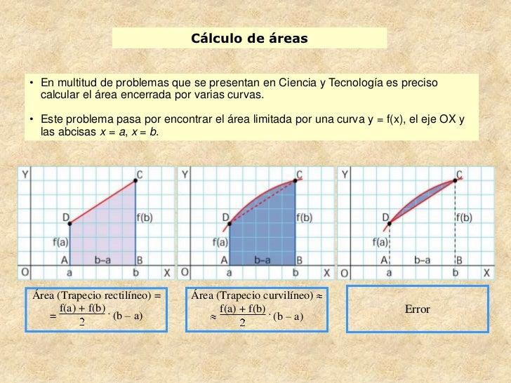 Cálculo de áreas• En multitud de problemas que se presentan en Ciencia y Tecnología es preciso  calcular el área encerrada...