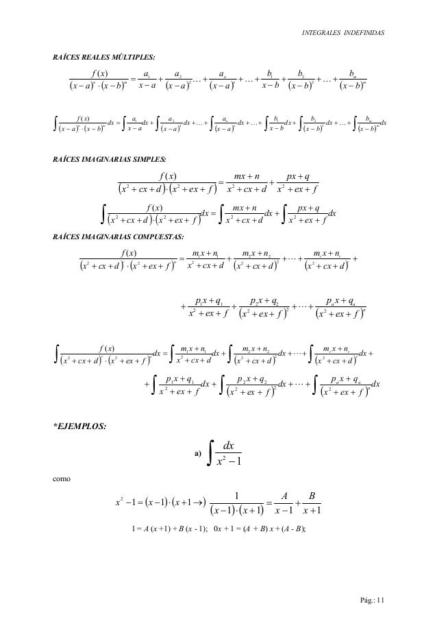 INTEGRALES INDEFINIDAS Pág.: 11 RAÍCES REALES MÚLTIPLES: ( ) ( ) ( ) ( ) ( ) ( )m m n n mn bx b bx b bx b ax a ax a ax a b...