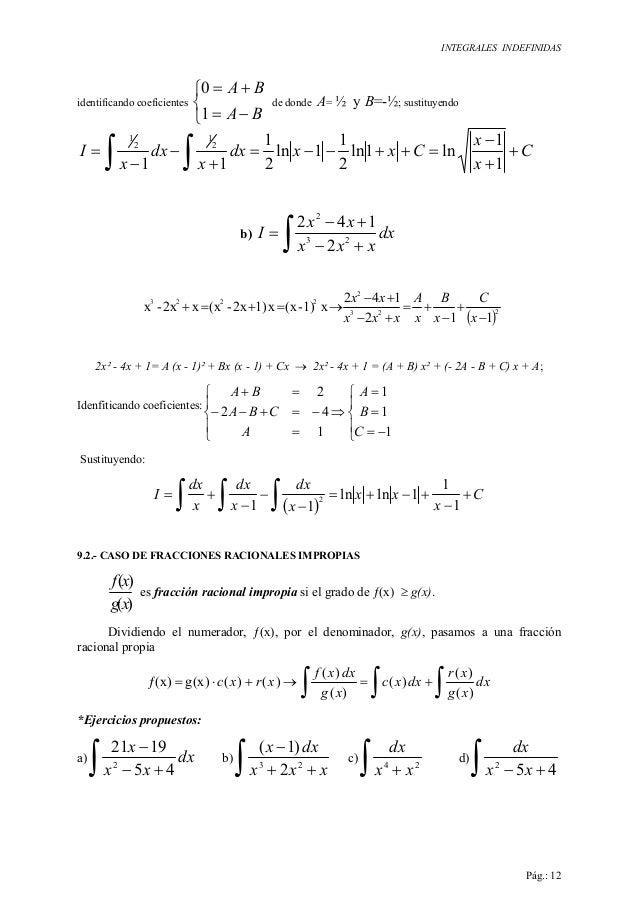 INTEGRALES INDEFINIDAS Pág.: 12 identificando coeficientes    −= += BA BA 1 0 de donde A= ½ y B=-½; sustituyendo C x x ...