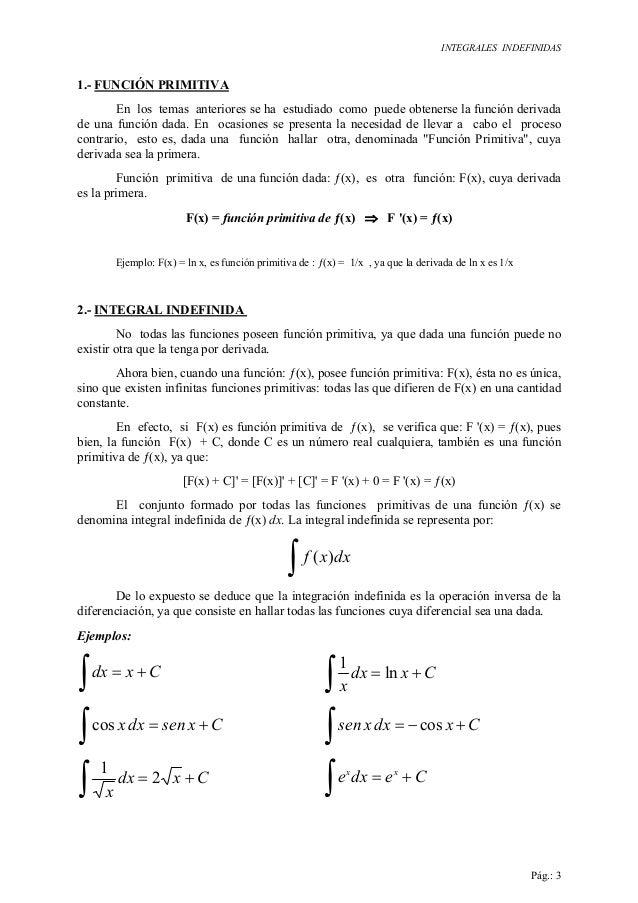 INTEGRALES INDEFINIDAS Pág.: 3 1.- FUNCIÓN PRIMITIVA En los temas anteriores se ha estudiado como puede obtenerse la funci...