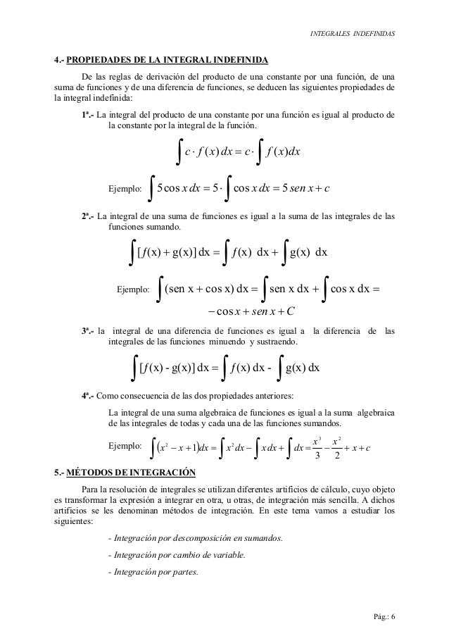 INTEGRALES INDEFINIDAS Pág.: 6 4.- PROPIEDADES DE LA INTEGRAL INDEFINIDA De las reglas de derivación del producto de una c...