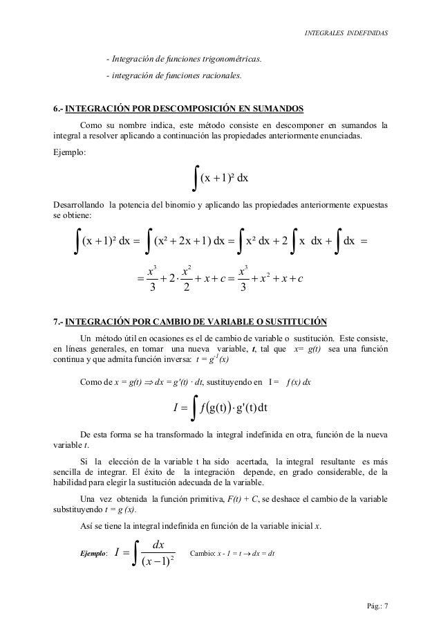 INTEGRALES INDEFINIDAS Pág.: 7 - Integración de funciones trigonométricas. - integración de funciones racionales. 6.- INTE...