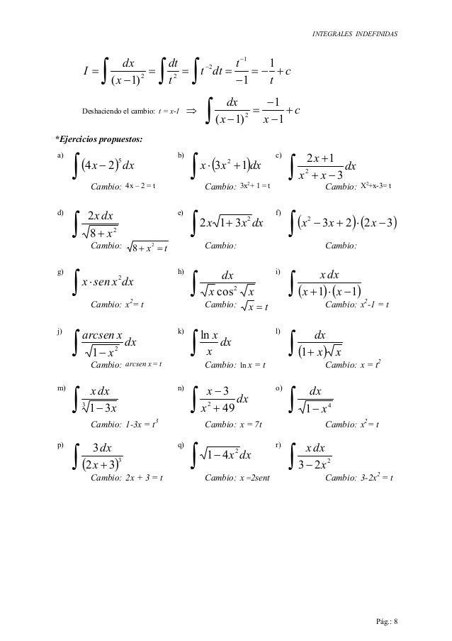 INTEGRALES INDEFINIDAS Pág.: 8 ∫ ∫ ∫ +−= − === − = − − c t t dtt t dt x dx I 1 1)1( 1 2 22 Deshaciendo el cambio: t = x-1 ...