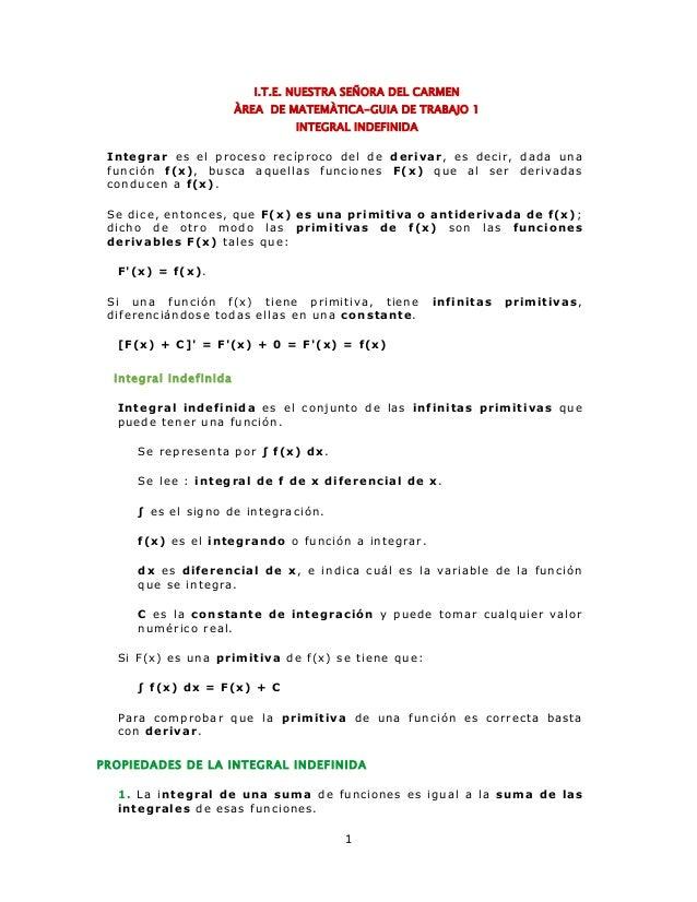 I.T.E. NUESTRA SEÑORA DEL CARMEN  ÀREA DE MATEMÀTICA-GUIA DE TRABAJO 1  INTEGRAL INDEFINIDA  Integrar es el proceso recípr...