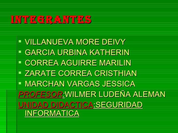 INTEGRANTES   <ul><li>VILLANUEVA MORE DEIVY </li></ul><ul><li>GARCIA URBINA KATHERIN </li></ul><ul><li>CORREA AGUIRRE MARI...