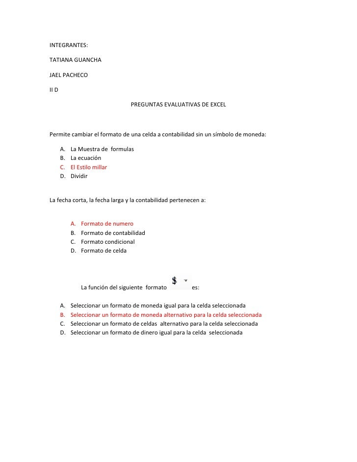 INTEGRANTES:<br />TATIANA GUANCHA <br />JAEL PACHECO<br />II D<br />PREGUNTAS EVALUATIVAS DE EXCEL <br />        Permite c...