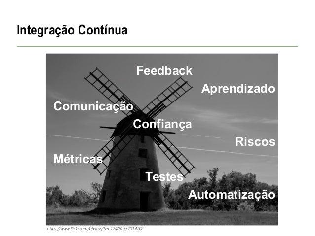 Integração Contínua Feedback Aprendizado Comunicação Confiança Riscos Métricas Testes Automatização https://www.flickr.com...