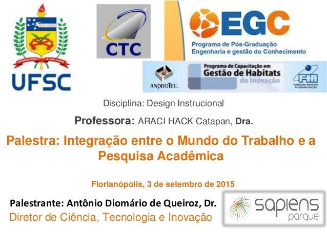 Disciplina: Design Instrucional Professora: ARACI HACK Catapan, Dra. Diretor de Ciência, Tecnologia e Inovação Palestrante...