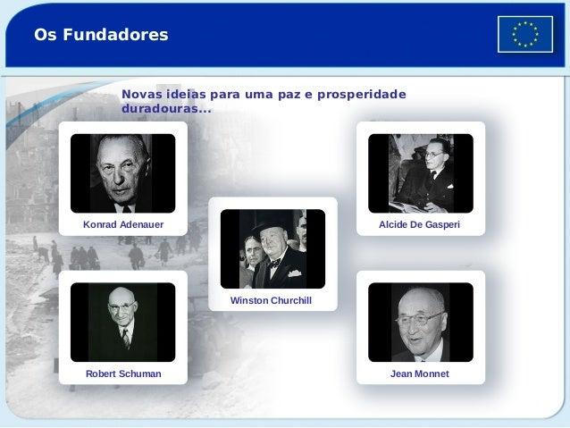 Os Fundadores  Novas ideias para uma paz e prosperidade duradouras...  Konrad Adenauer  Alcide De Gasperi  Winston Churchi...