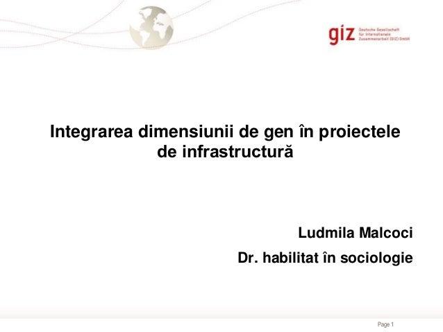 Page 1 Integrarea dimensiunii de gen în proiectele de infrastructură Ludmila Malcoci Dr. habilitat în sociologie