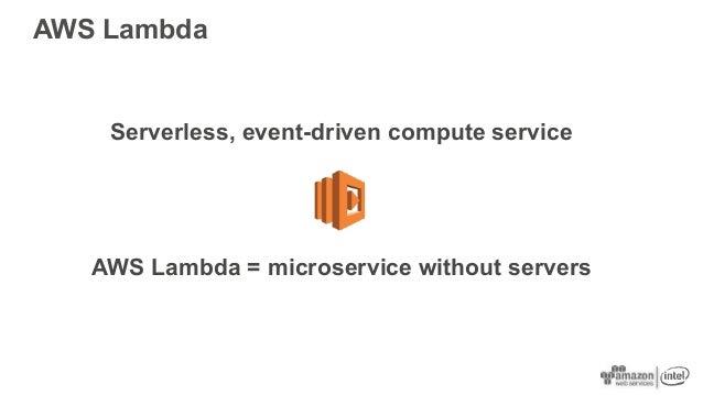 Serverless, event-driven compute service AWS Lambda = microservice without servers AWS Lambda