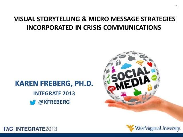 VISUAL STORYTELLING & MICRO MESSAGE STRATEGIESINCORPORATED IN CRISIS COMMUNICATIONSINTEGRATE 2013@KFREBERG1