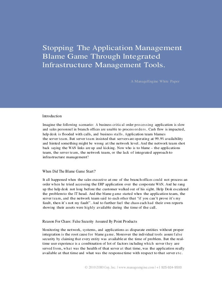 Stopping The Application ManagementBlame Game Through IntegratedInfrastructure Management Tools.                          ...
