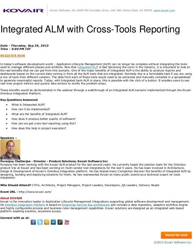 Kovair Software, Inc.4699 Old Ironsides Drive, Unit 180, Santa Clara, CA 95054, www.kovair.com Integrated ALM with Cross-T...