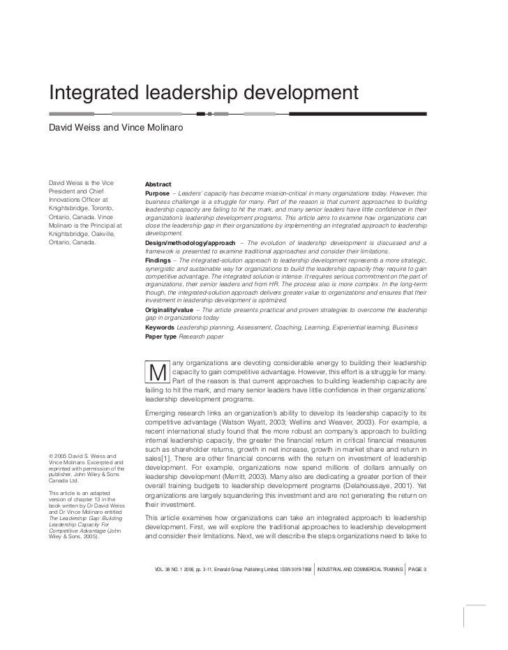 Integrated leadership developmentDavid Weiss and Vince MolinaroDavid Weiss is the Vice            AbstractPresident and Ch...