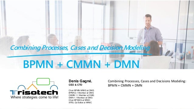 BPMN + CMMN + DMN Combining Processes, Cases and Decision Modeling Where strategies come to life! Combining Processes, Cas...