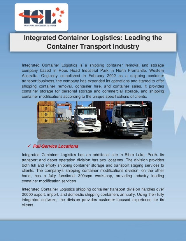 Integrated Container Logistics Leading the Container Transport Indus