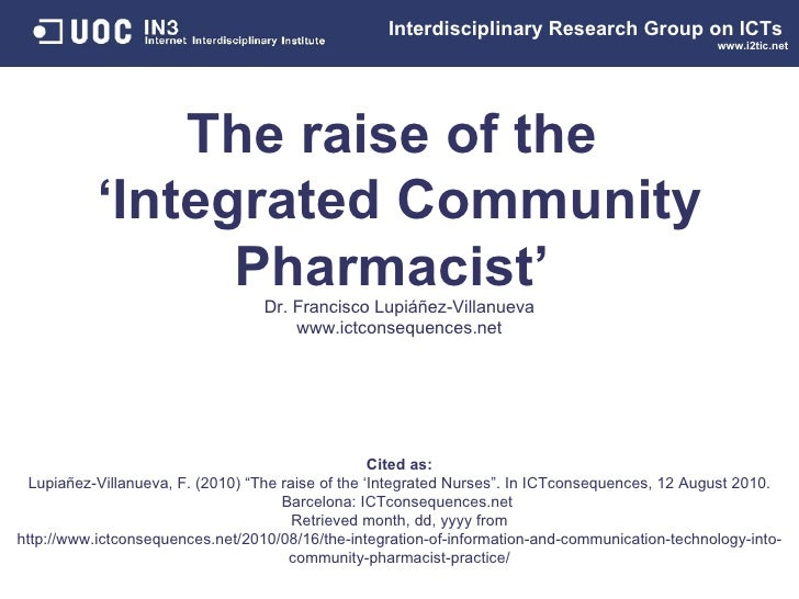 The integration of Information and Communication Technology into Community Pharmacist practice