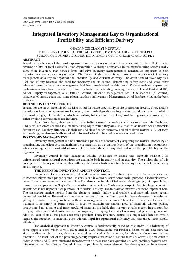 Industrial Engineering Letters ISSN 2224-6096 (Paper) ISSN 2225-0581 (online) Vol.3, No.9, 2013  www.iiste.org  Integrated...