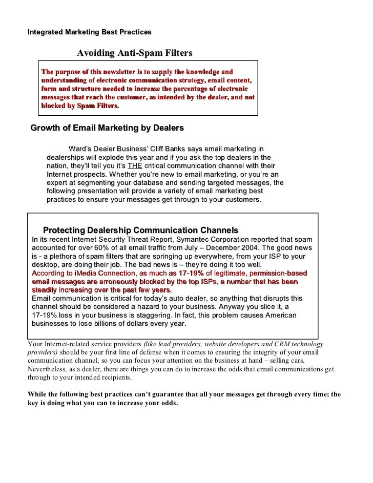 Integrated Marketing Best Practices                  Avoiding Anti-Spam Filters     The purpose of this newsletter is to s...