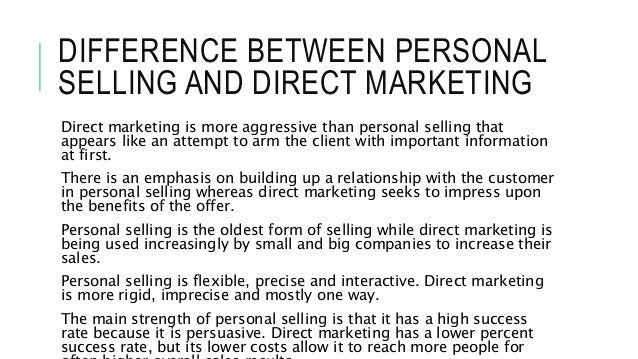 difference between personal selling and direct marketing Integrated Marketing Communication