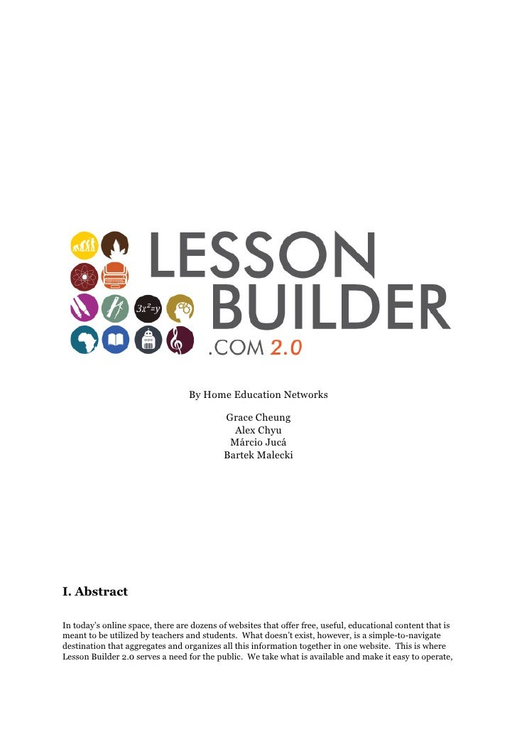 Lession builder 2 0 in depth marketing plan for Share builders plan