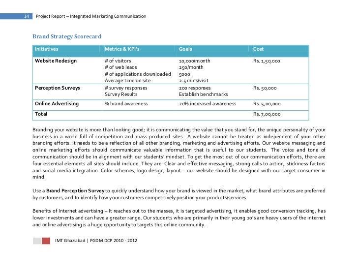 14    Project Report – Integrated Marketing Communication     Brand Strategy Scorecard      Initiatives                   ...