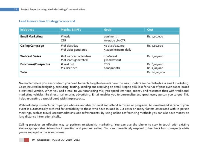 15    Project Report – Integrated Marketing Communication     Lead Generation Strategy Scorecard      Initiatives         ...