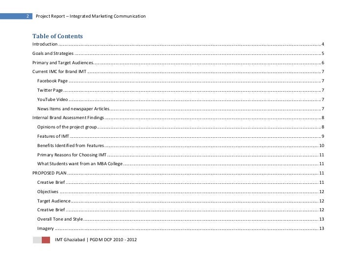 2     Project Report – Integrated Marketing Communication    Table of Contents    Introduction ..............................