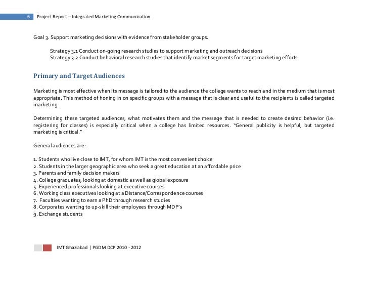 6    Project Report – Integrated Marketing Communication    Goal 3. Support marketing decisions with evidence from stakeho...