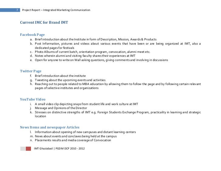 7    Project Report – Integrated Marketing Communication    Current IMC for Brand IMT    Facebook Page          a. Brief i...