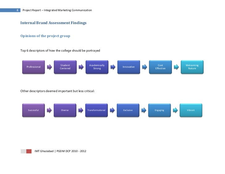 8    Project Report – Integrated Marketing Communication    Internal Brand Assessment Findings    Opinions of the project ...