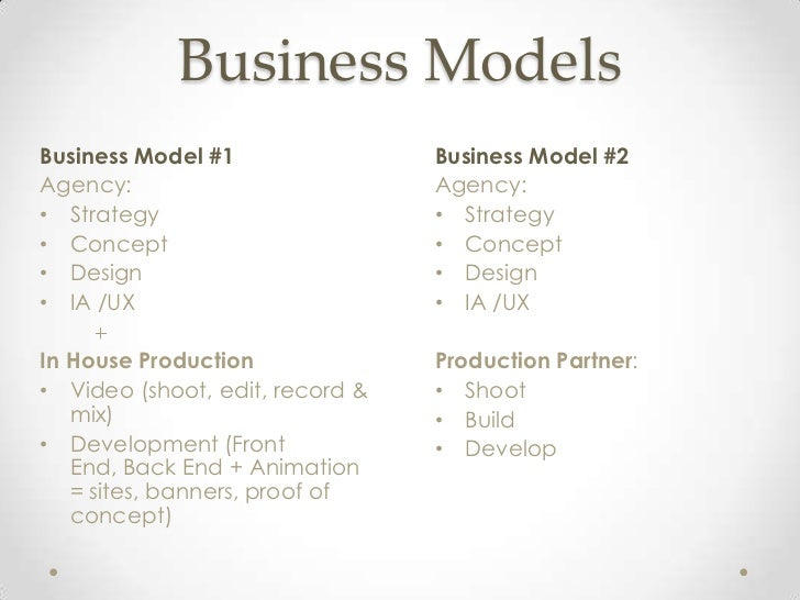 Business ModelsBusiness Model #1                Business Model #2Agency:                          Agency:• Strategy       ...