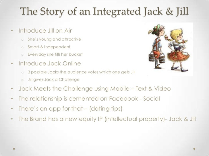 The Story of an Integrated Jack & Jill• Introduce Jill on Air   o   She's young and attractive   o   Smart & Independent  ...