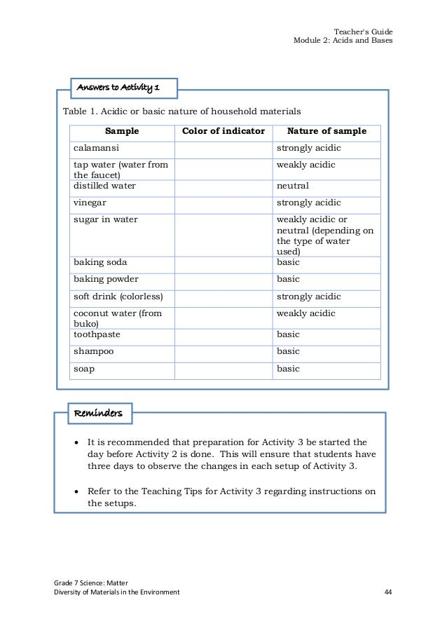 Free Worksheets chemistry of life worksheet answers : Integrated Science Module for Grade 7 -- Quarter 1-2