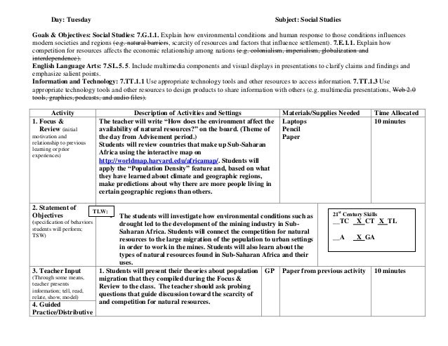 six point lesson plan template - integrated unit six point lesson plan