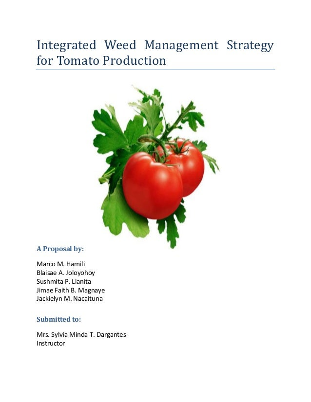 Integrated Weed Management Strategyfor Tomato ProductionA Proposal ByMarco M HamiliBlaisae A JoloyohoySushmita Strategy For