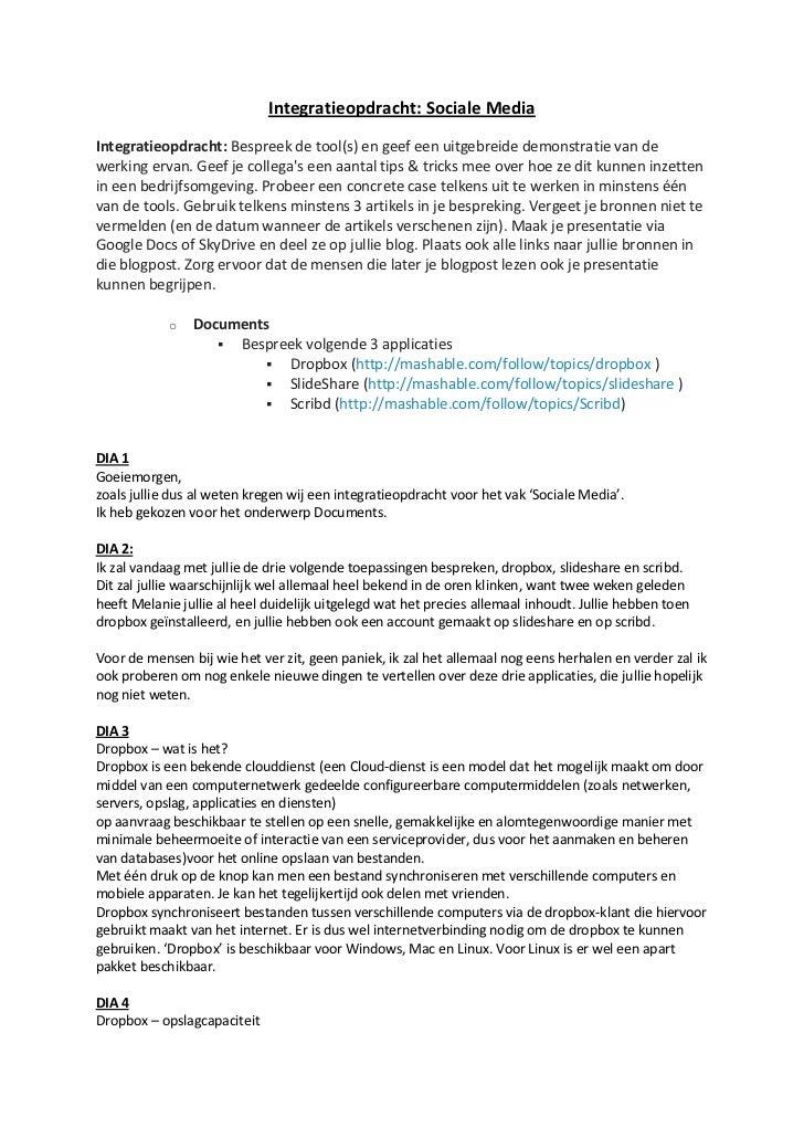 Integratieopdracht: Sociale MediaIntegratieopdracht: Bespreek de tool(s) en geef een uitgebreide demonstratie van dewerkin...