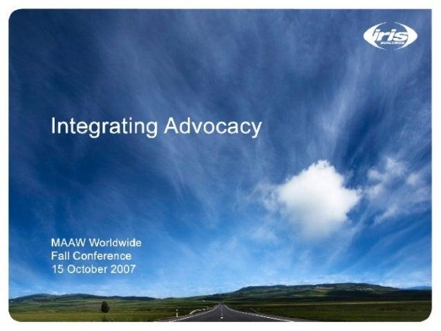 "»-"" , ' £, j : r'14'J; ¢ ; L:""+'_  . -: - j ,1.""-. :_. —. . &-V -:12.   Integrating Advocacy  MAAW Worldwide Fall Conferen..."