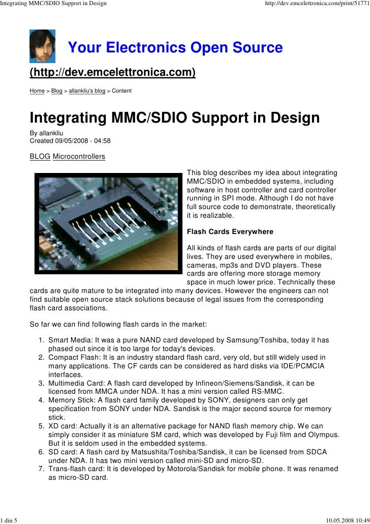 Integrating MMC/SDIO Support in Design                                             http://dev.emcelettronica.com/print/517...