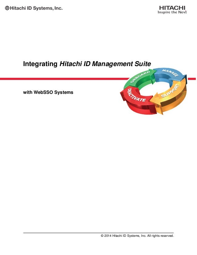 Integrating Hitachi ID Management Suite with WebSSO Systems © 2014 Hitachi ID Systems, Inc. All rights reserved.