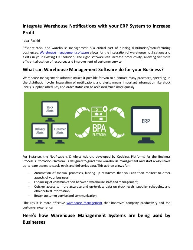 Integrate Warehouse Notifications with your ERP System to Increase Profit Iqbal Rashid Efficient stock and warehouse manag...
