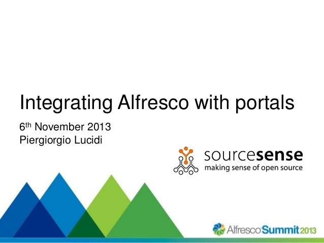 Integrating Alfresco with portals 6th November 2013 Piergiorgio Lucidi  #SummitNow