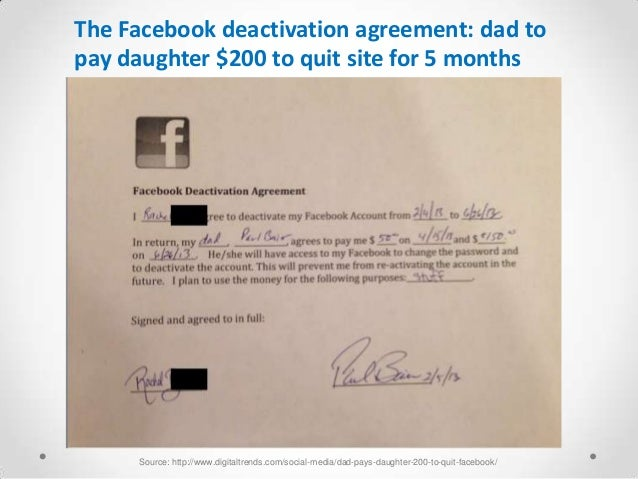 The Facebook deactivation agreement: dad topay daughter $200 to quit site for 5 months     Source: http://www.digitaltrend...