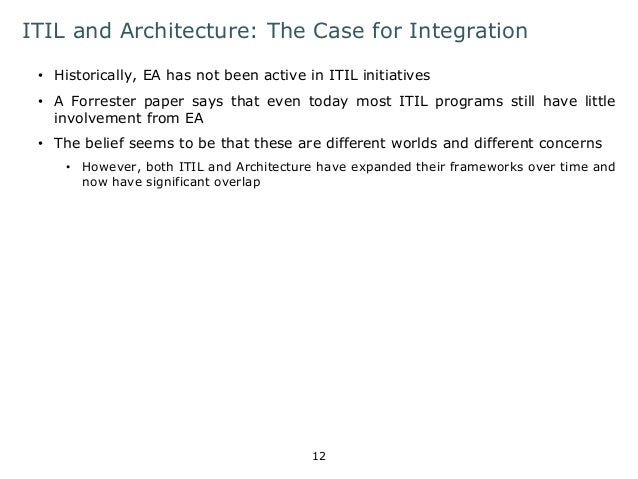 ITIL and Architecture: The Case for Integration  • Historically, EA has not been active in ITIL initiatives  • A Forrester...