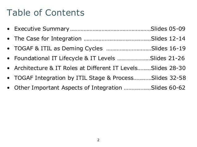 Table of Contents  • Executive Summary ………………………………………………Slides 05-09  • The Case for Integration ………………………………………Slides 12...